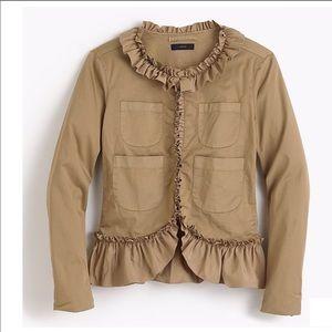 NWT J.CREW Ruffle Chino Jacket size 16 Brand New